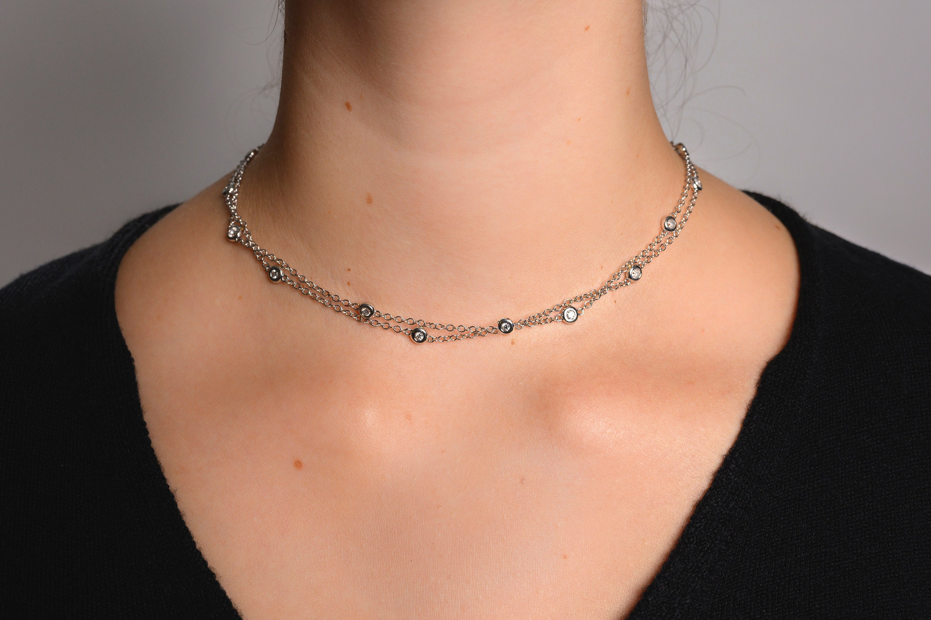 18K White Gold & Diamond Double Chain Necklace