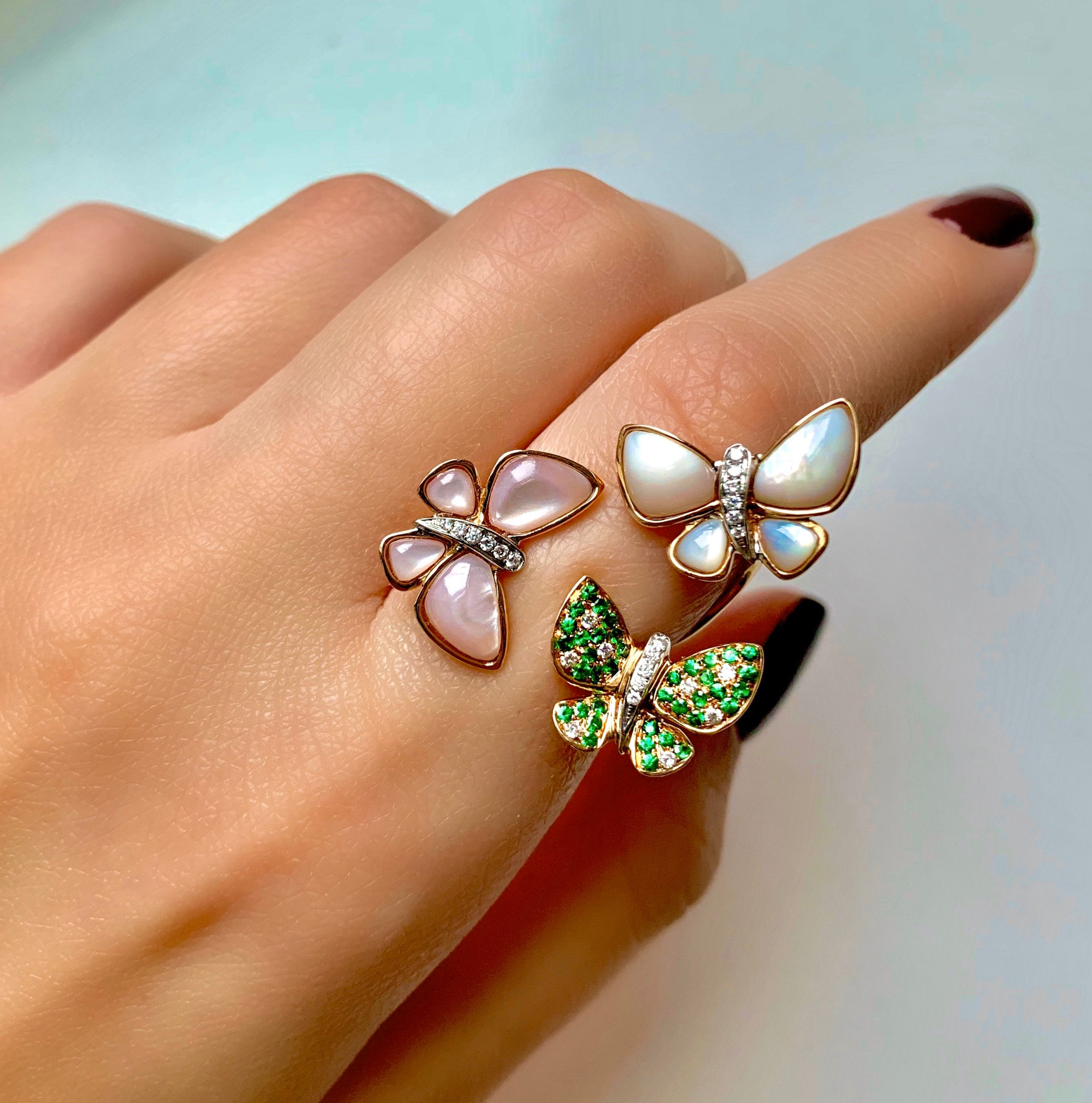 18K Rose Gold, Diamonds & Mother of Pearl Butterfly Ring