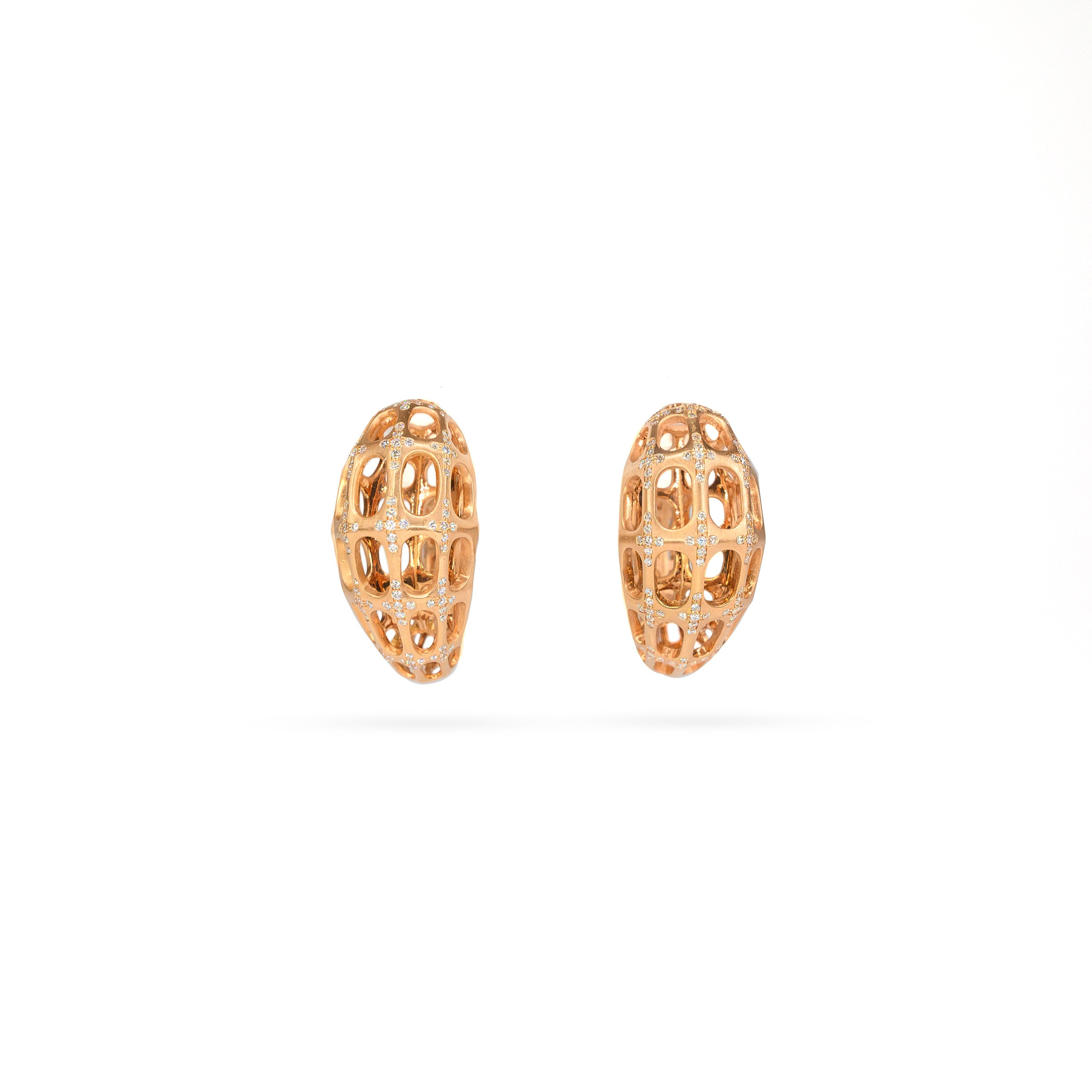 18K Rose Gold Diamond Hoop Earrings
