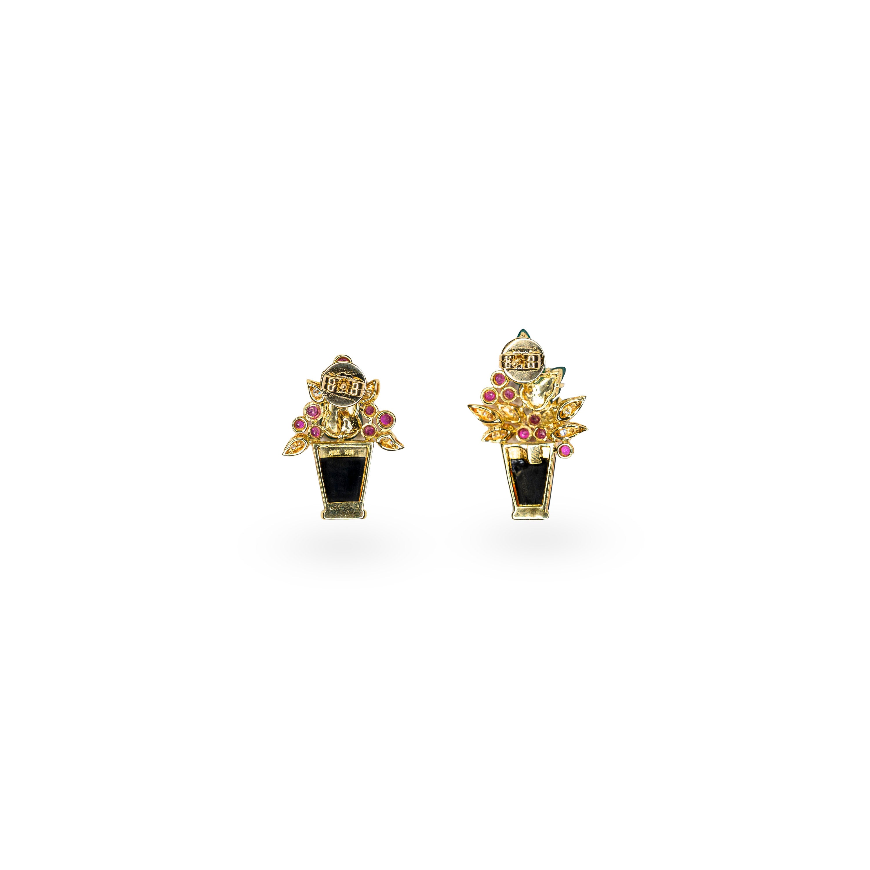 18K Yellow Gold, Green Jade, Diamonds & Rubies Earrings