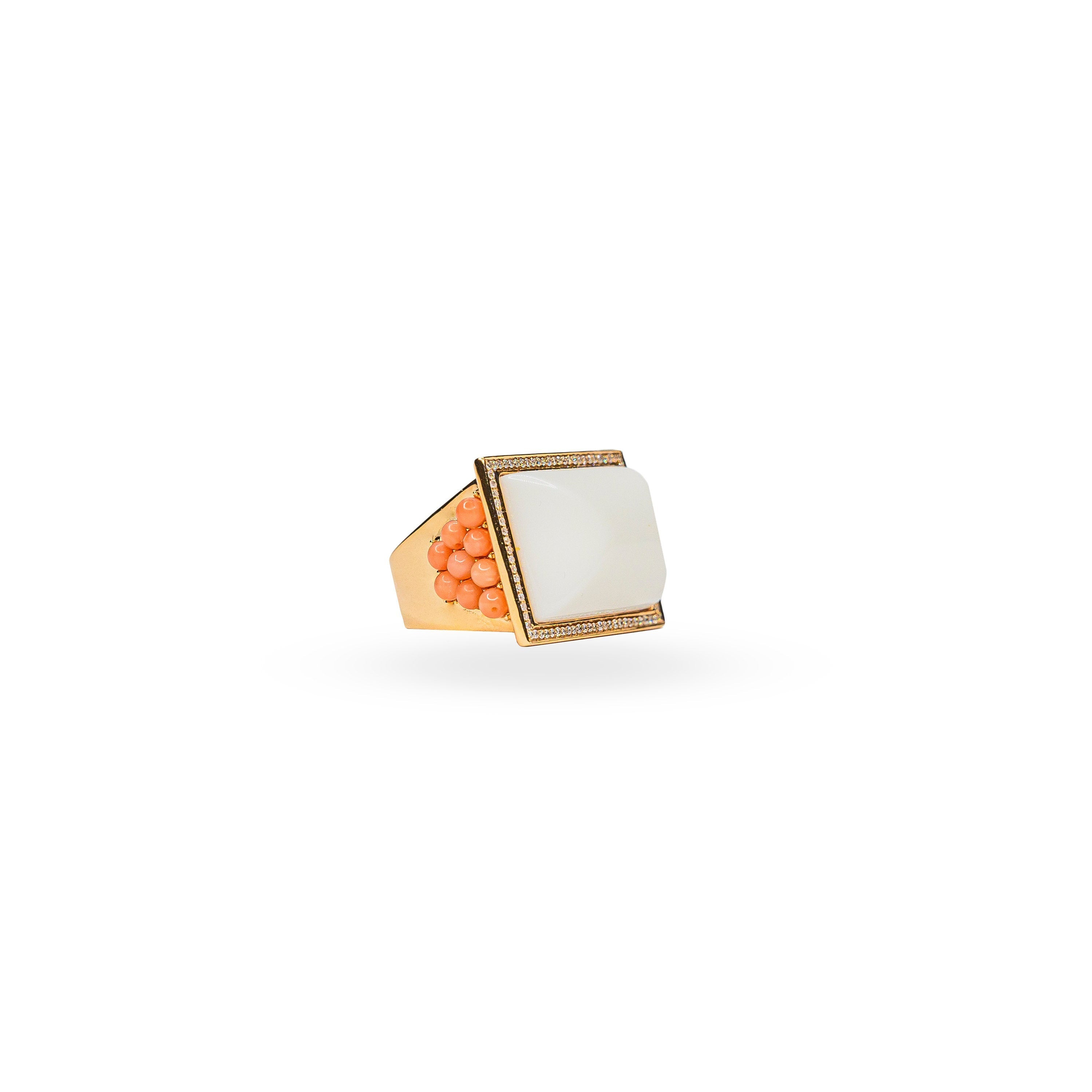 18K Rose Gold, Diamonds, Coral & White Agate Statement Cocktail Ring
