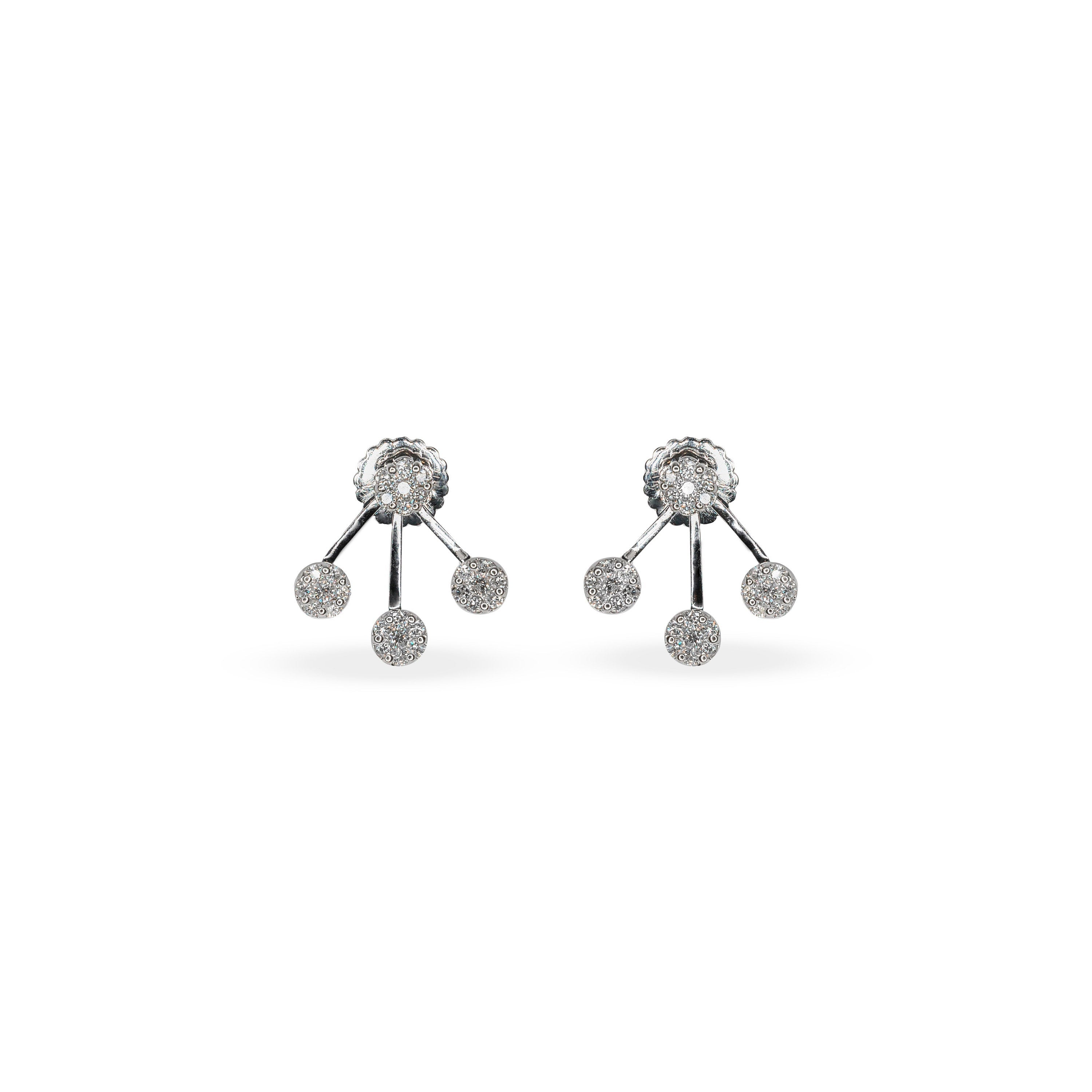 18K White Gold & Diamond Jacket Earring Studs