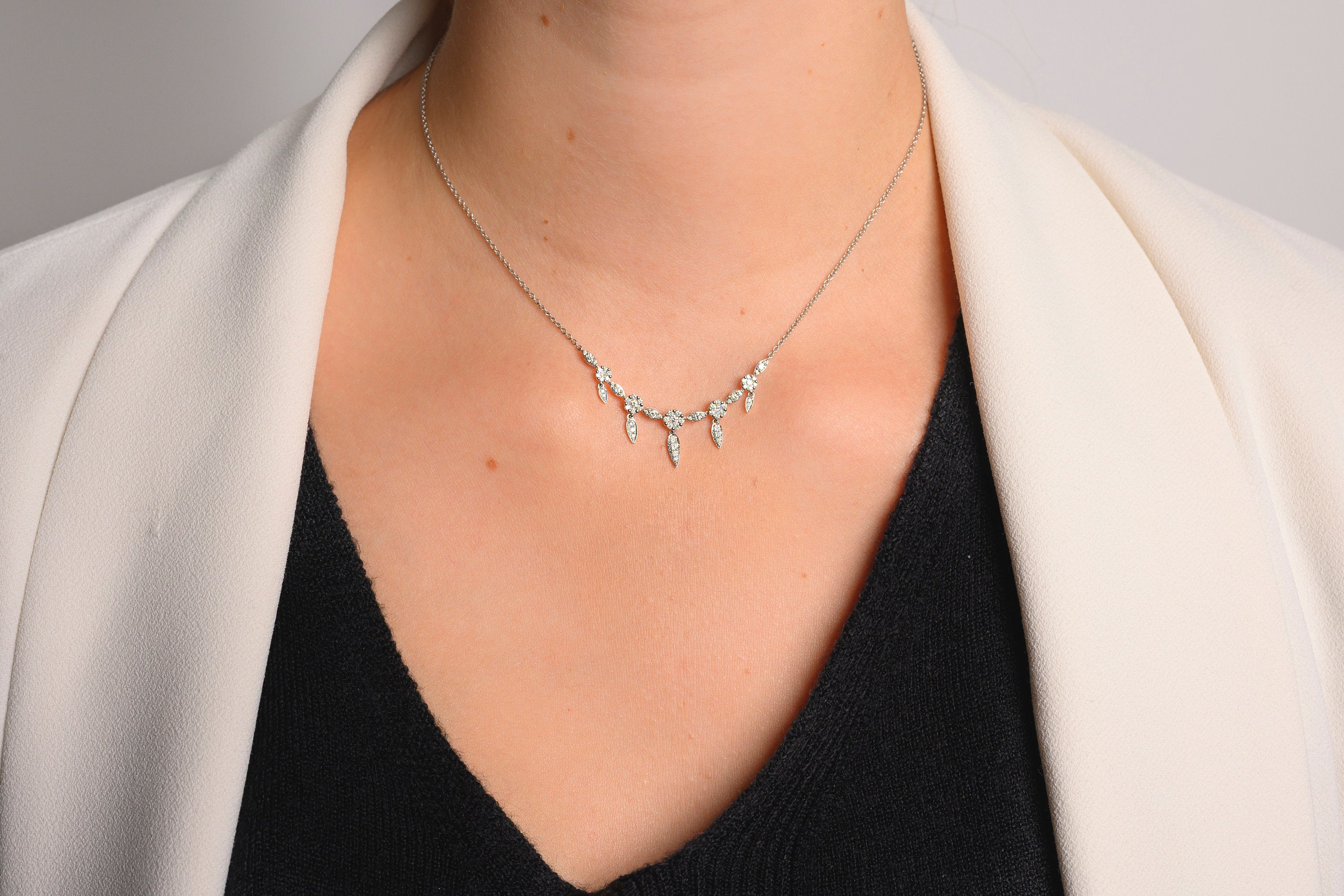18K White Gold Dainty Diamond Layering Necklace