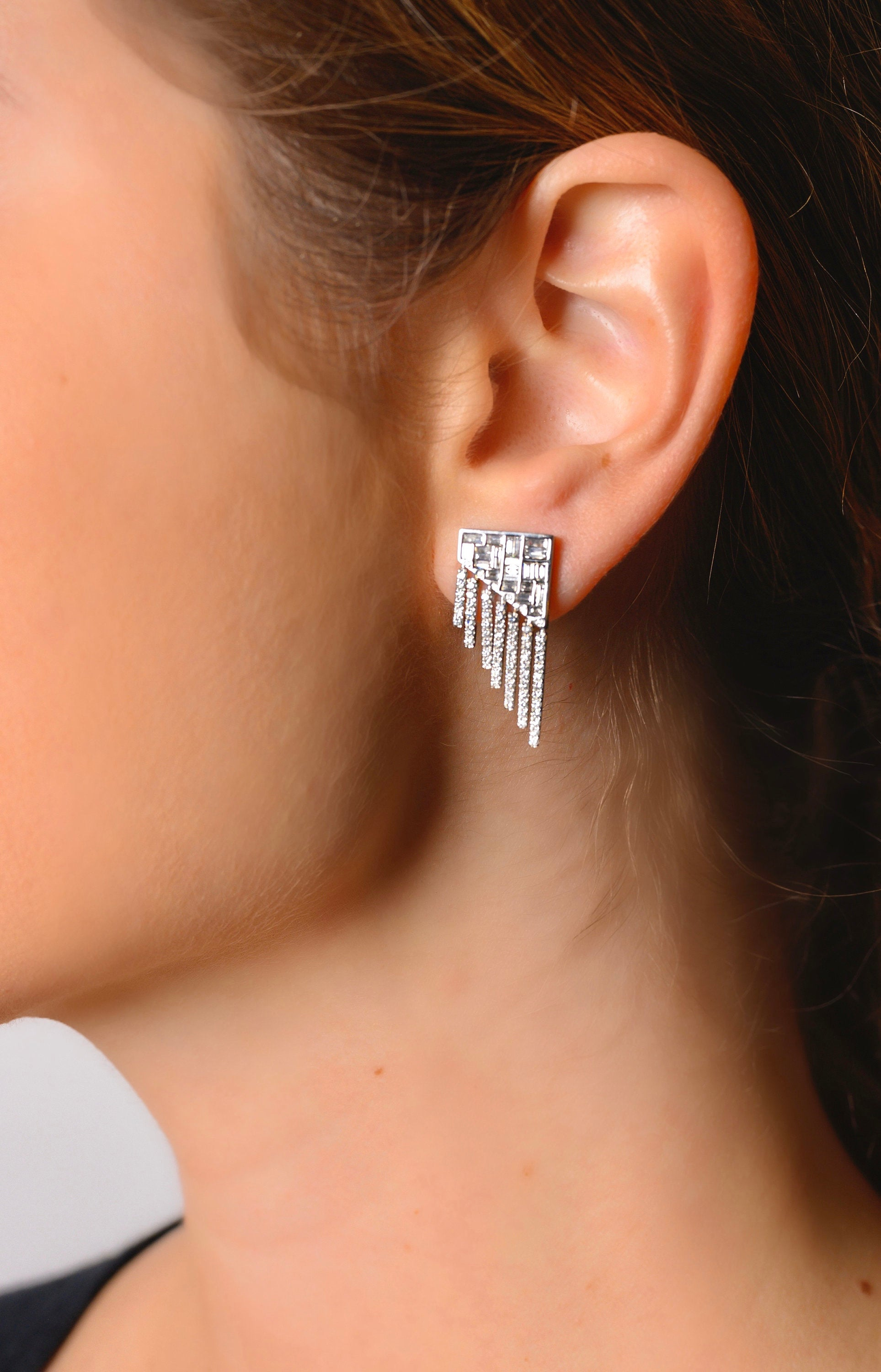18K White Gold Geometric Art Deco Diamond Earrings