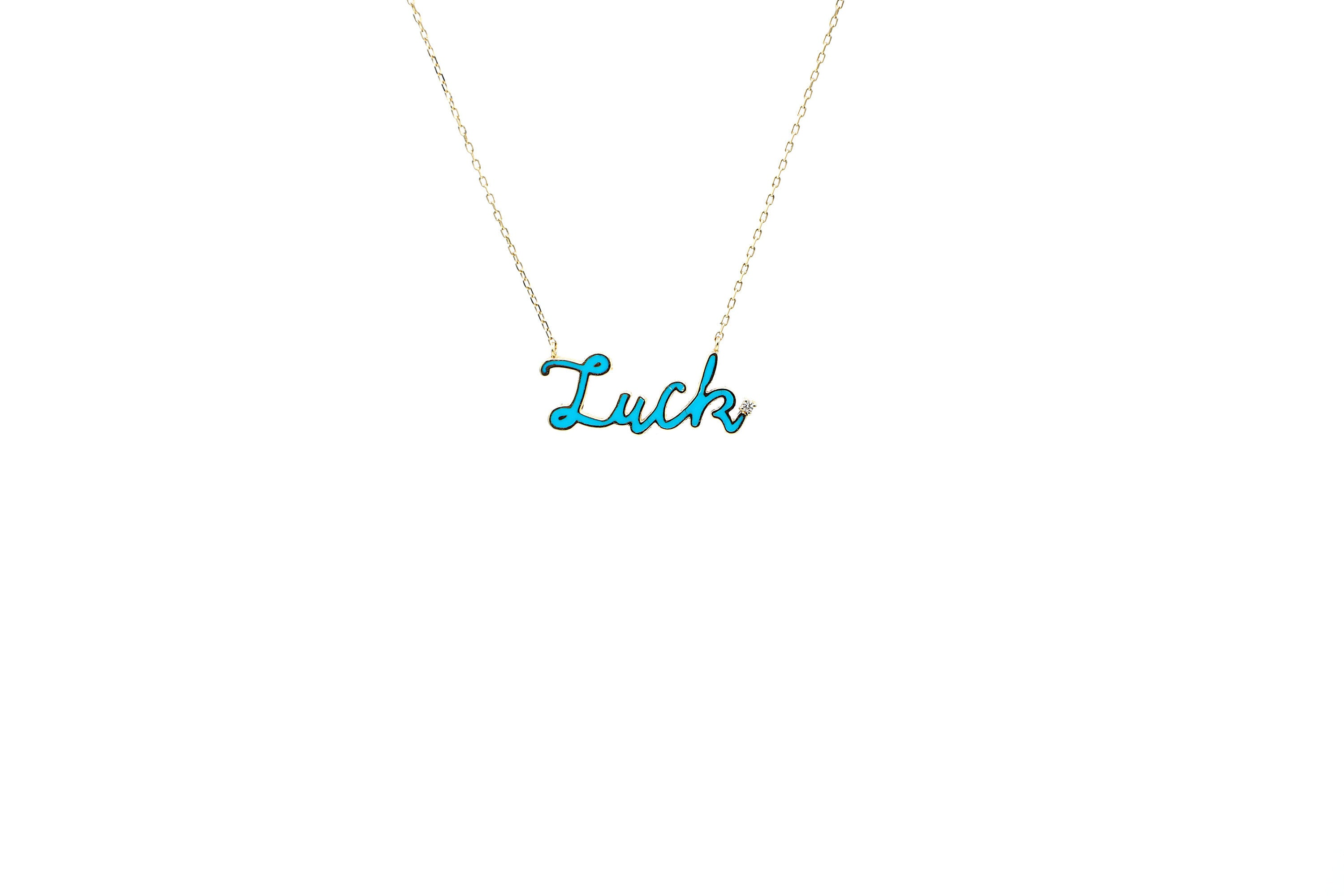 "18K Rose Gold & Diamond ""Lucky"" Charm Letter Necklace"