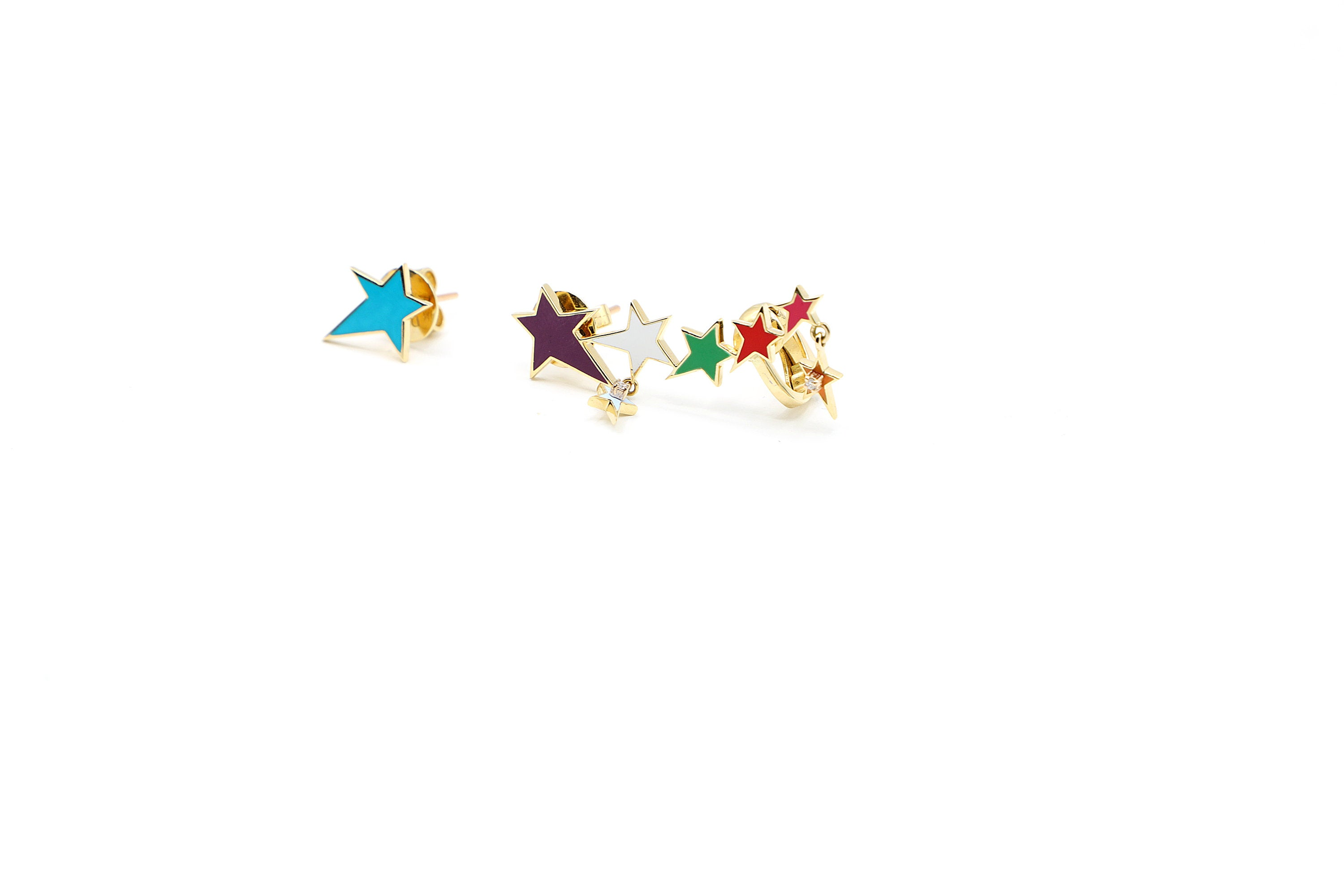 18K Rose Gold & Diamonds Multi-Color Dainty Star Ear Climber