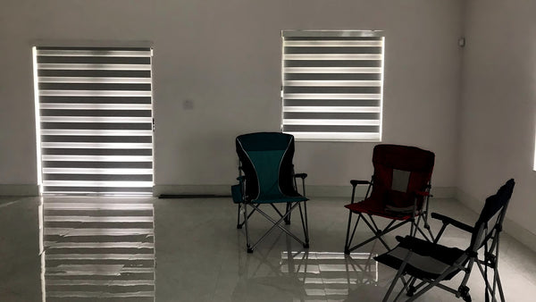 Room Darkening Zebra Blind - Dimout White