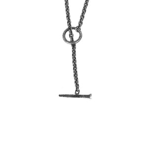 DRAUG Jewelry 925 Solid Silver Spike Cross Necklace