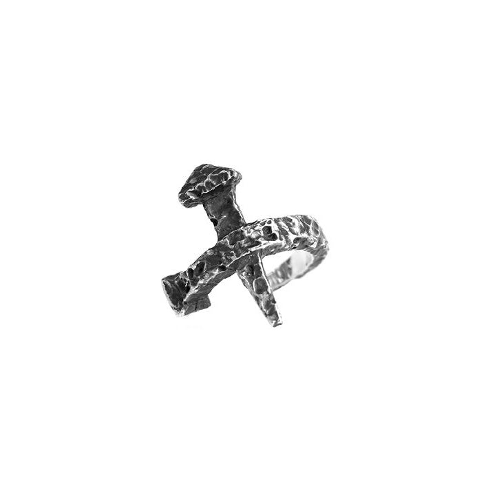 DRAUG Jewelry 925 Solid Silver Spike Cross Ring