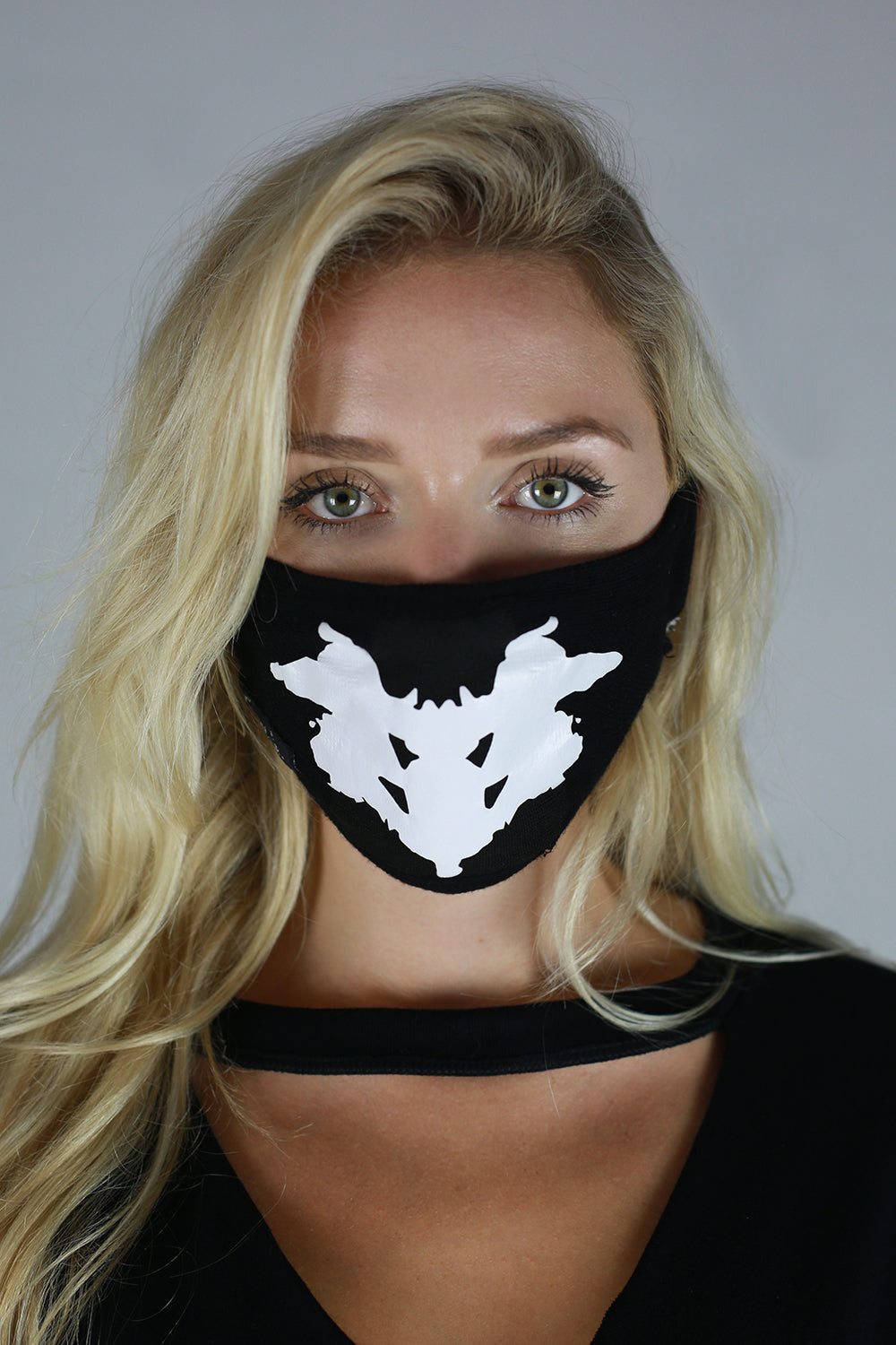 Unisex Antibacterial Face Mask White On Black Print