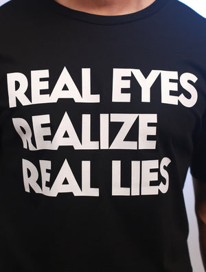 G.O.A.T. 'Real Eyes' Long Body White on Black Print Tee
