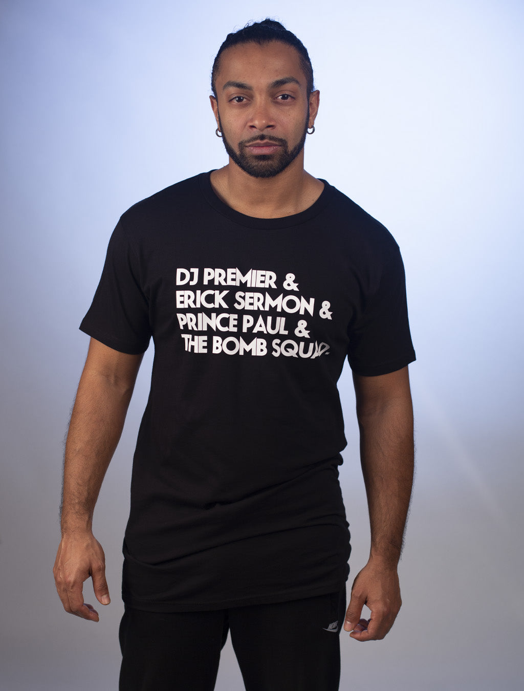 G.O.A.T. '90's Producers' Long Body White on Black Print Tee