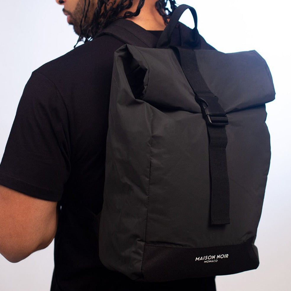 Classic Signature Reflective Roll Top Backpack Dark Grey