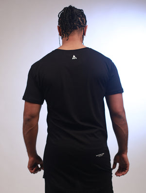 NOIR Big Logo Long Body Black on Black Print Tee