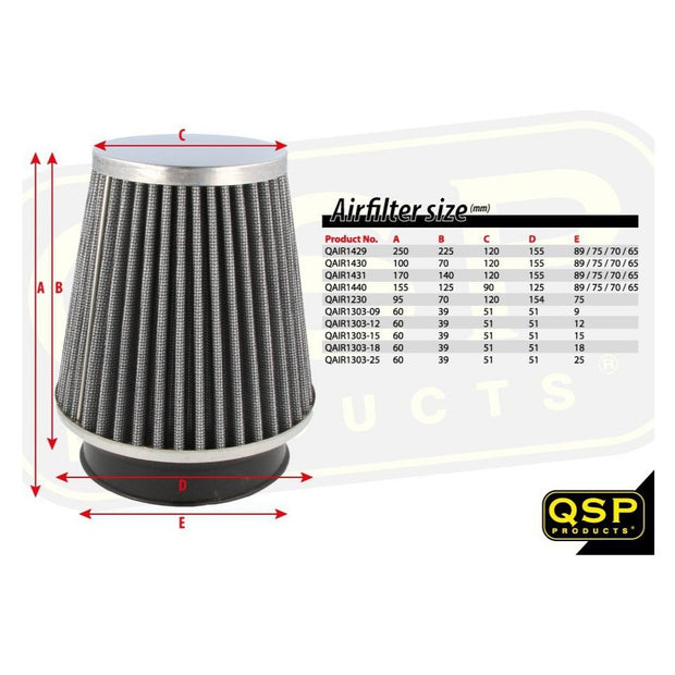 Universal Air Filter 90/125mm L55mm