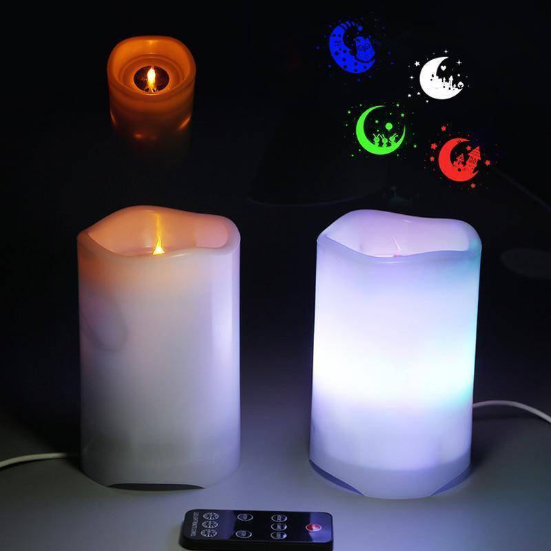 New Candle Projection Lamp - 2-in -1 color light RGBW with remote control