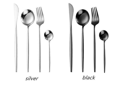 Stainless Steel Portuguese Tableware 24-piece Set
