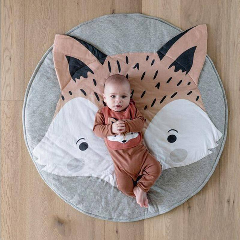 Nordic Ins Cotton Cartoon Fox Carpet for Babies In Gray Color