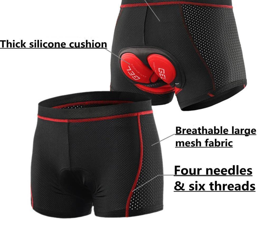 Men Bicycle Shorts - 3D Gel Pad Shockproof Cycling Shorts
