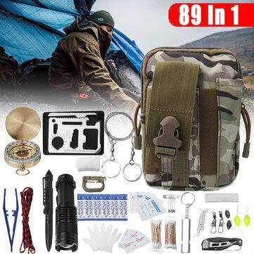 89 Pcs SOS First Aid Desert Camouflage Survival Kit