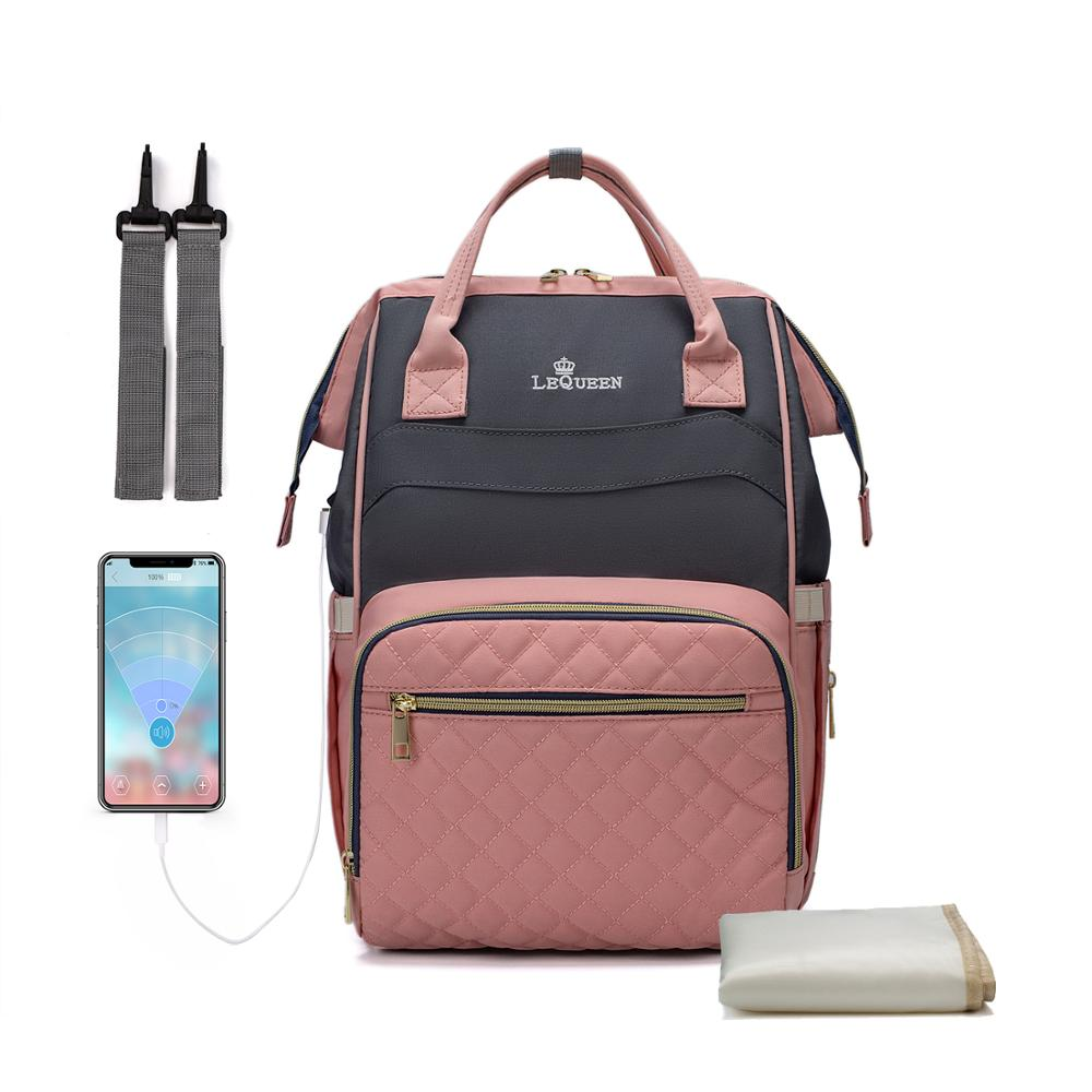 Lequeen Waterproof USB Diaper Bag Backpack