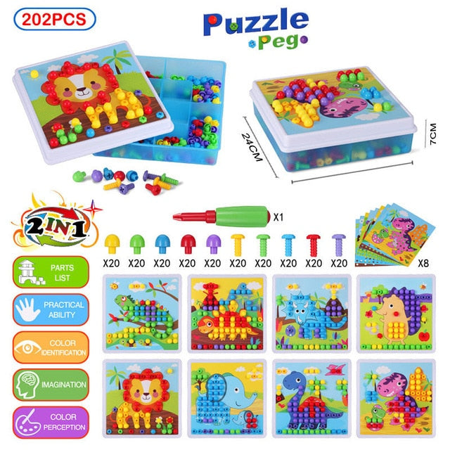 3D Creative Building Bricks Drilling Mosaic Puzzle Toy