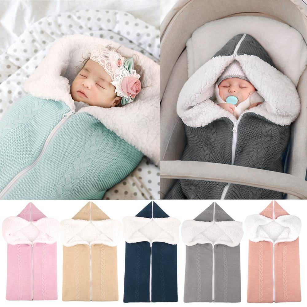 Baby Sleeping Bag Newborn Knit Swaddle Blanket