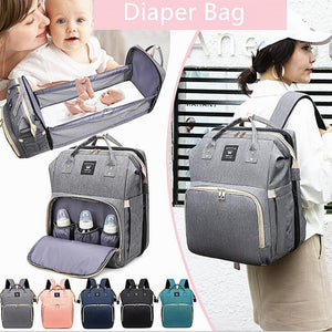 2 in 1 Diaper Bag with Changing Bed Baby Crib