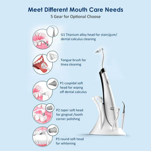 5 In 1 Electric Sound Ultrasonic Dental Scaler Tooth Stain Remover