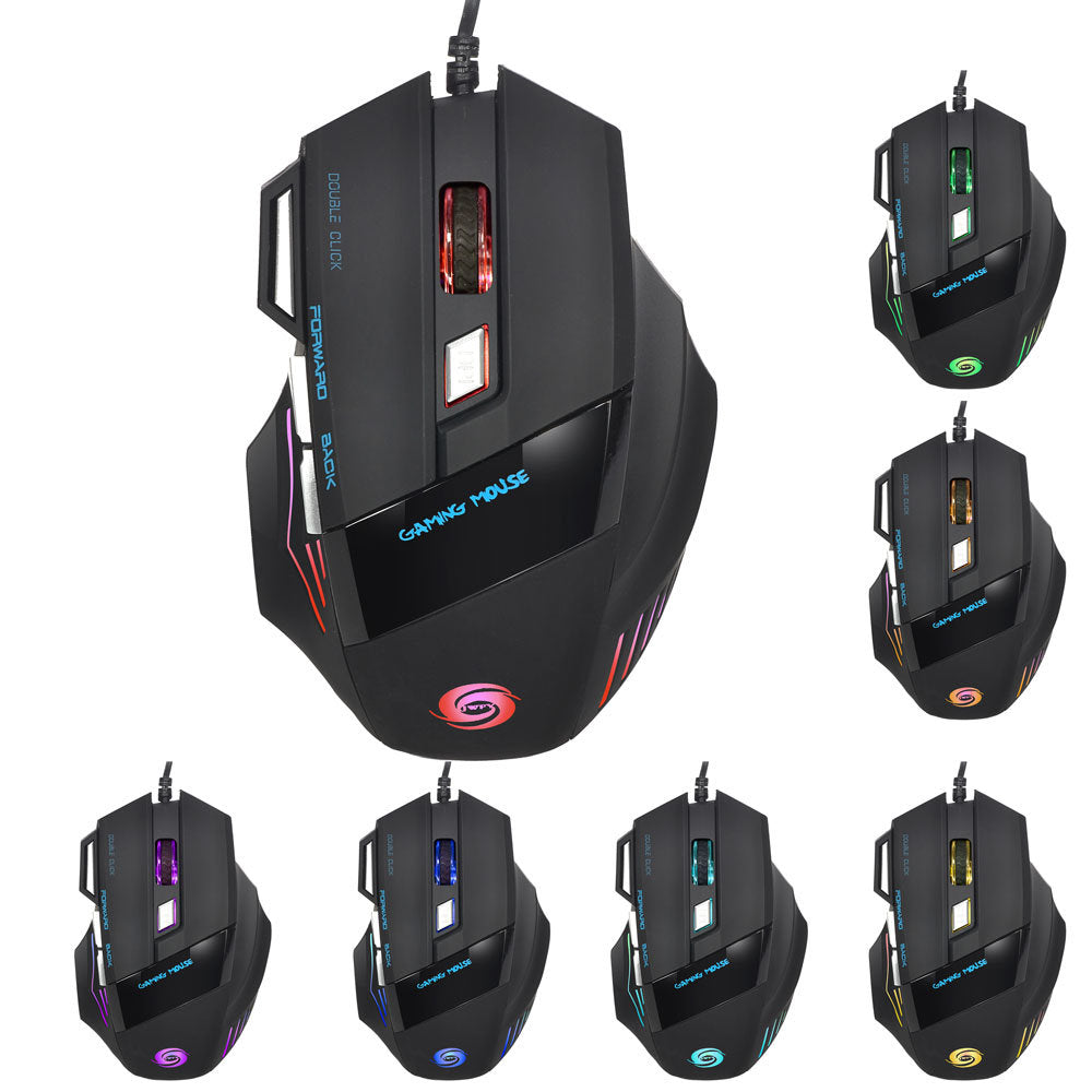 USB Wired DPI 7 Buttons LED Light Optical Gaming Mouse
