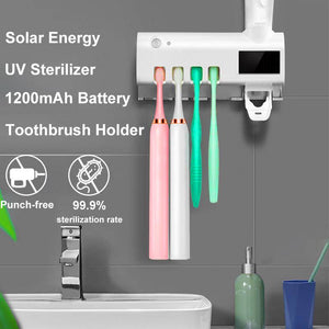 UV Toothbrush Holder Multifunctional Toothpaste Dispenser Solar Energy Bathroom Toothbrush Storage Box for Xiaomi/Oclean/Soocas/MIJIA Toothbrush