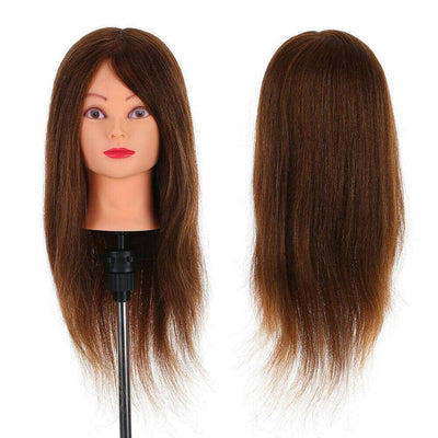 "90% 24"" Real Human Hair Hairdressing Mannequin With Table Clamp"