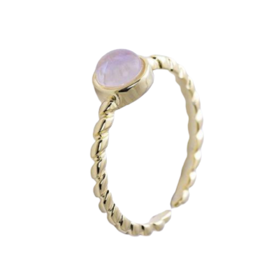 Bague Pierre de Lune Rose Intemporelle