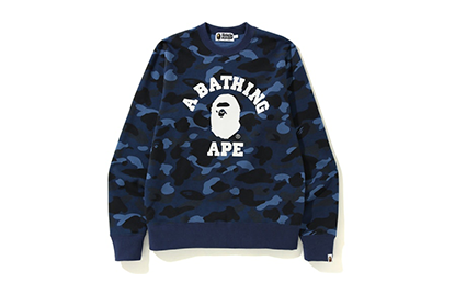 A BATHING APE CAMO CREWNECK [BAPE101-NAVY]