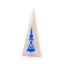 Load image into Gallery viewer, Pyramid Earrings Blue Nylon