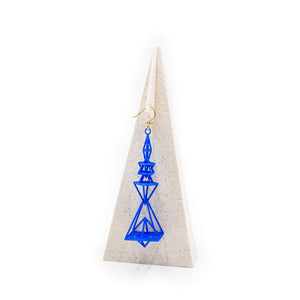 Pyramid Earrings Blue Nylon
