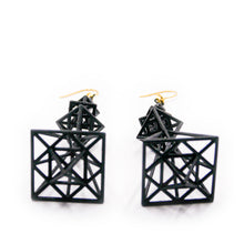 Load image into Gallery viewer, Pyramid Earrings Black Acryl