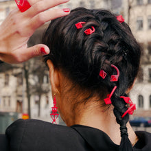 Load image into Gallery viewer, Pyramid Hair-Pierce Red Acryl