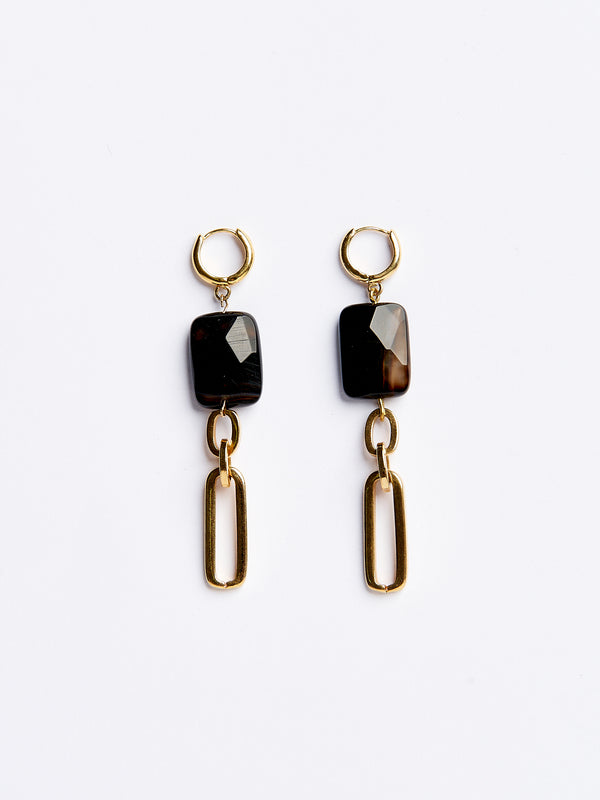 MET EARRINGS BROWN-eios jewelry