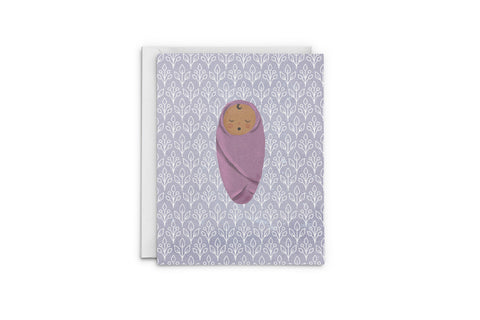 Swaddled Baby In Purple Greeting Card