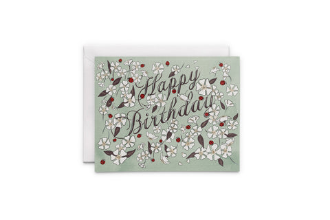 Happy Birthday Ladybug Garden Card