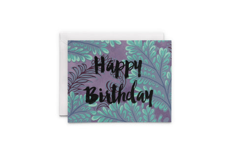 Tropical Fern Happy Birthday Card