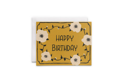 White Poppies On Yellow Birthday Greeting Card