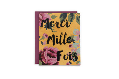 Merci Mille Fois Bright Floral Thank You Card