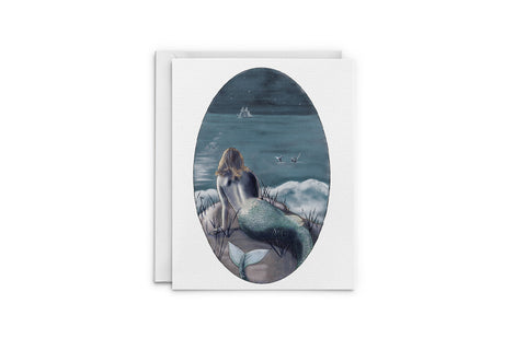 Night Swim Mermaids Greeting Card