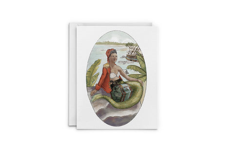 Pirate Queen Mermaid Greeting Card
