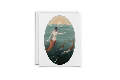 Sunset Mermaids Greeting Card