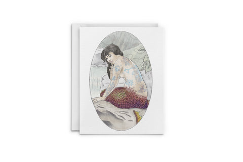 Tattooed Mermaid Greeting Card