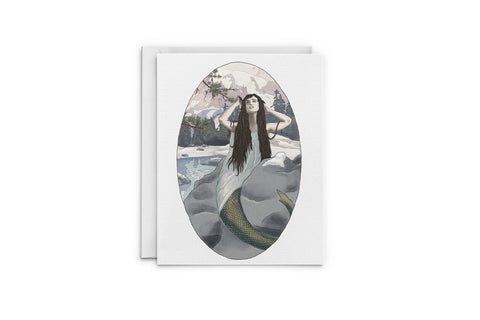 Winter Mermaid Greeting Card