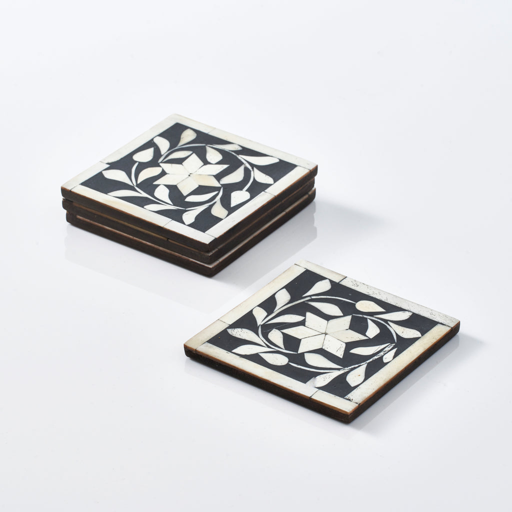 Leaf Pattern Coasters (Set of 4)